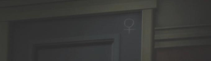 ドアに掘られた金星のマーク