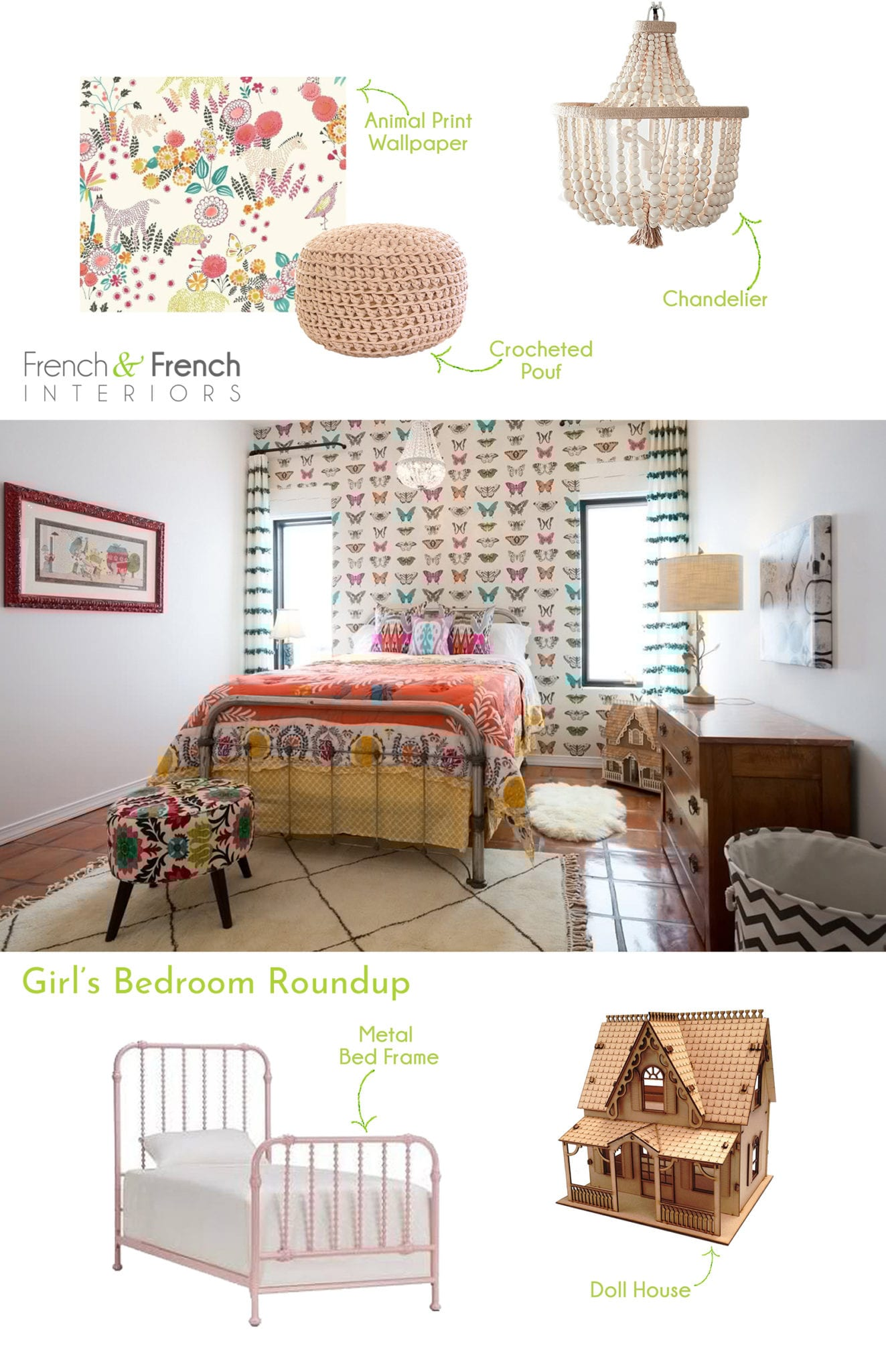 inspiration for designing your kid's room butterfly wallpaper animal print wallpaper chandelier crocheted pouf metal bed frame doll house