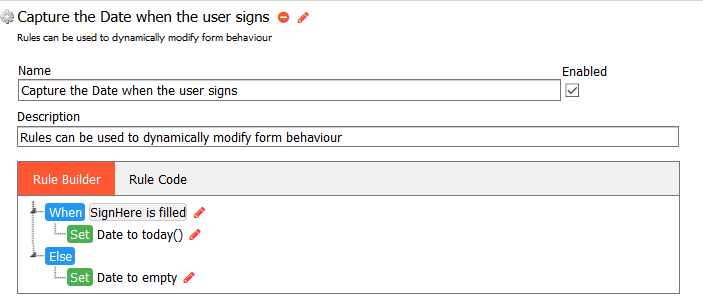Completed Fill in the date automatically when the user signs rule.