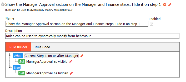 Completed Show/Hide the Manager Approval Step rule.