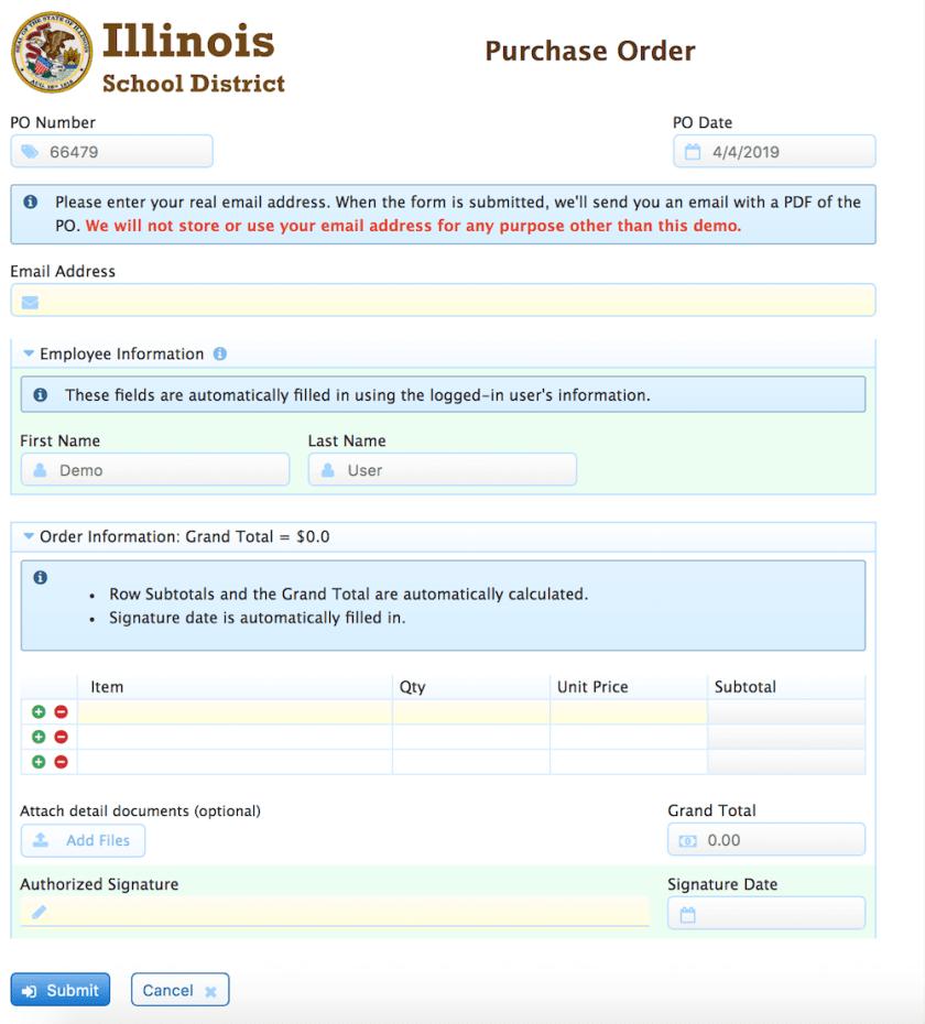 Basic Purchase Order form.