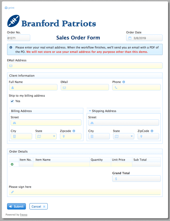 Example Sales Order Form