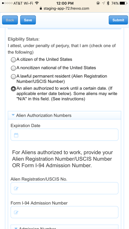 "frevvo screen after the user checks ""Work Alien"" in the Eligibility Status radio button in the I-9 form. Previously hidden Alien Numbers section is now visible."