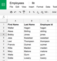 Google Sheet with First Name, Last Name and Employee ID columns. 12 rows of data.