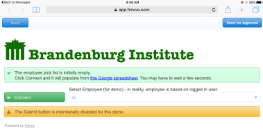 Brandenberg Instititute with a pick list that is initially empty. Click a Connect button and it will populate the choices in a Select Employee dropdown.