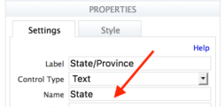 Properties panel for the State/Province field in the Simple Contact form. The control name, state matches the column name in the Google Spreadsheet.