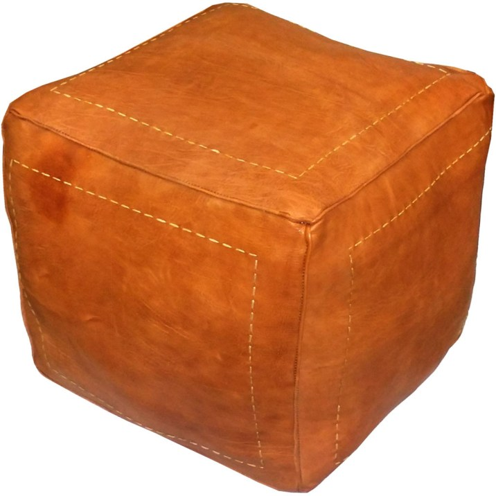 Square Leather Pouf Burnt Orange