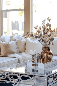 Rose Gold and Gold Living Room Accents
