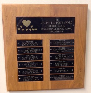 plaque honoring Friends School of Minnesota volunteers
