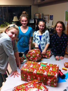 The middle school student council boxed and wrapped all the gifts.