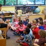 New kindergartners and Marshall get to know each other.