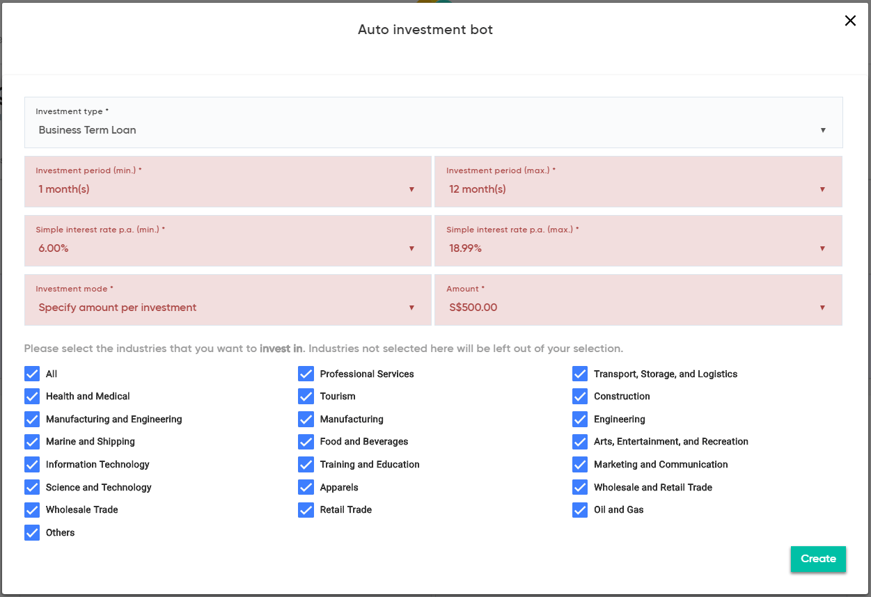 Funding Societies desktop auto investment droplist