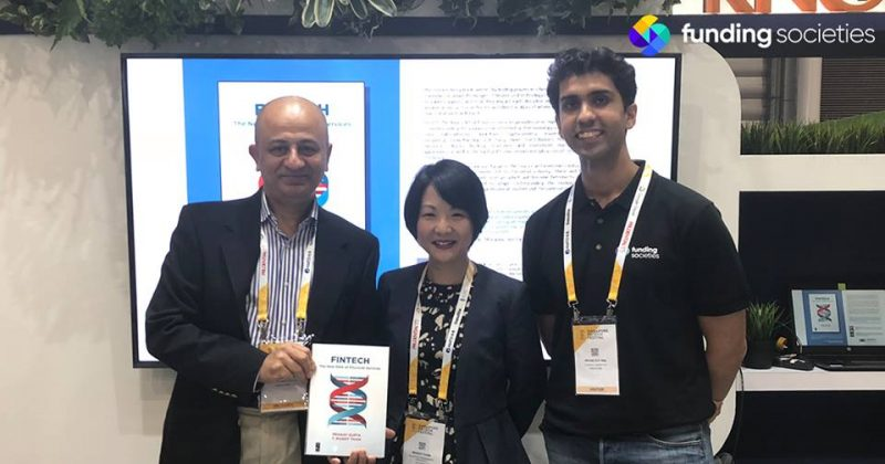 "Pramodh Rai at the launch of ""FinTech: The New DNA of Financial Services"" alongside co-authors, Pranay Gupta and Dr. Mandy Tham"