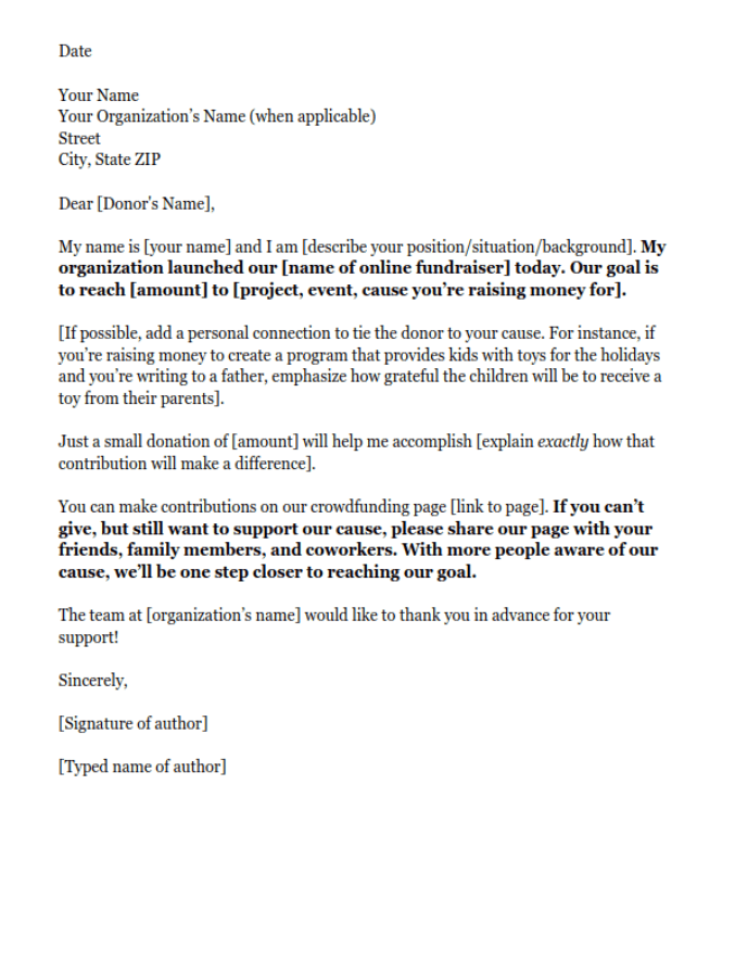 corporate donation letter template