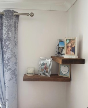 floating shelves as corner shelf