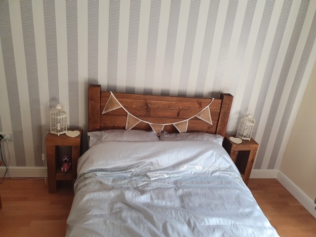 Coleridge Tall Headboard Bed Frame in Medium Oak. Chopwell Slim Bedside Tables.
