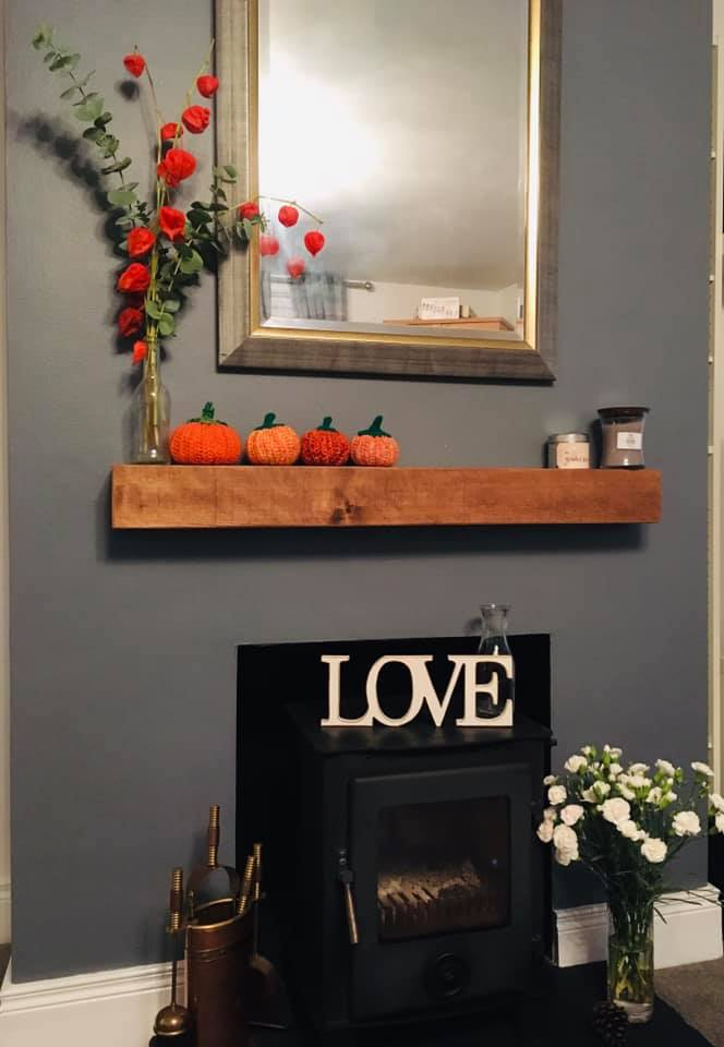 Autumnal Fireplace with Crocheted Pumpkins