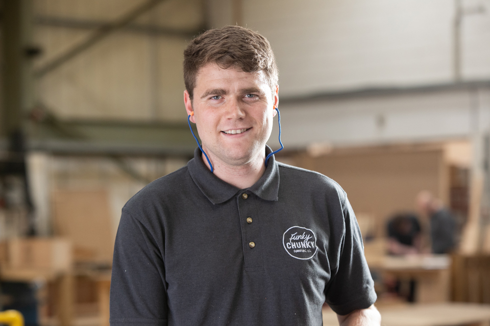 This image shows James our Production Operative in the workshop.