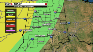 Severe weather outlook from CW affiliate WISH.