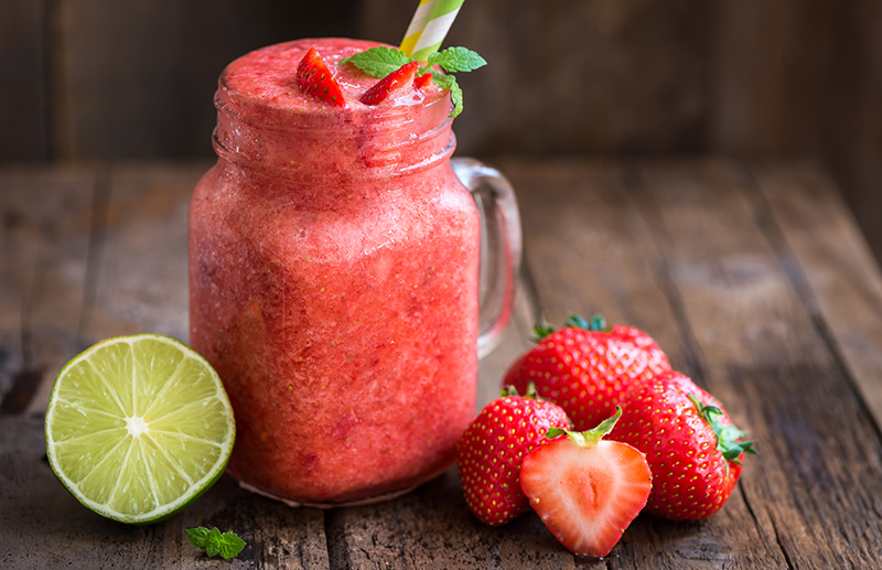 Strawberry Fields Hibiscus Smoothie with bananas and strawberries