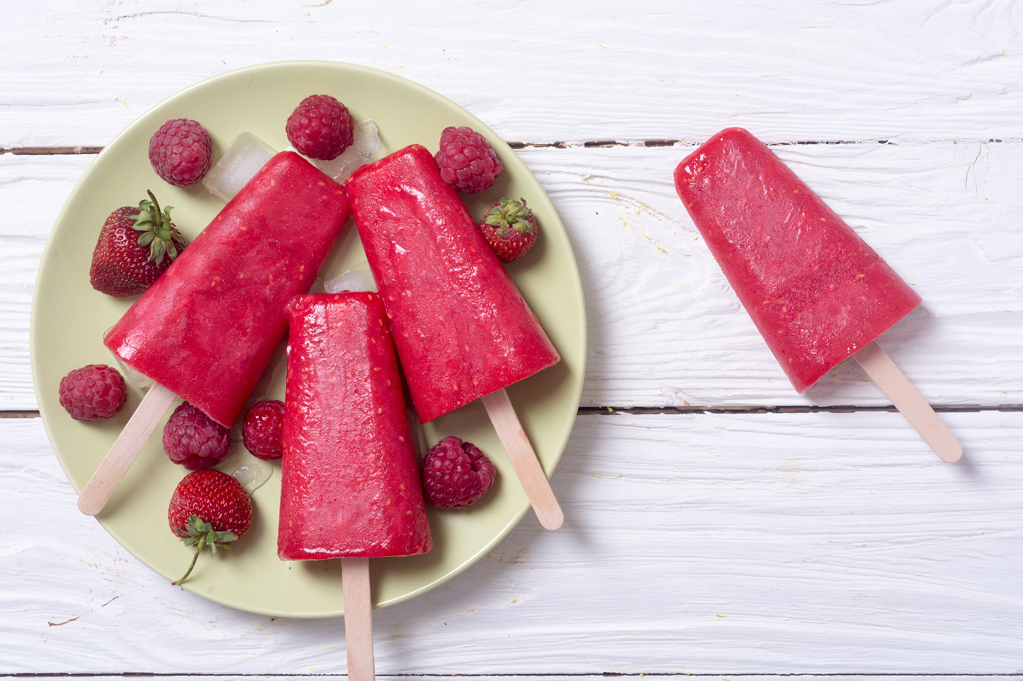 raspberry tart green tea popsicles