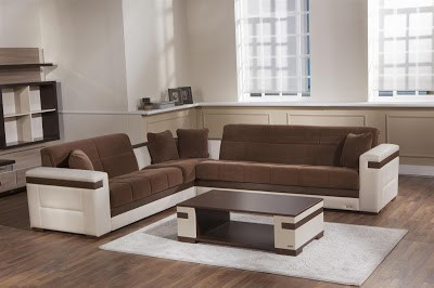 Moon Troya Brown Sectional Sofa w/Cream Arms by Sunset
