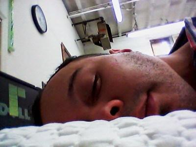 Me sleeping on a memory foam pillow