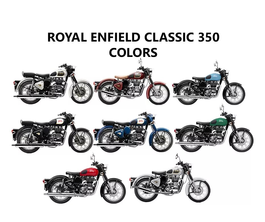 Royal Enfield Classic 350 Colors: Black, Lagoon, Blue