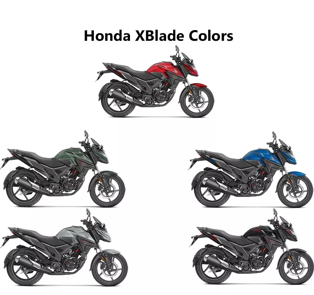 Honda XBlade Colors: Red, Black, Silver, Blue, Marshal