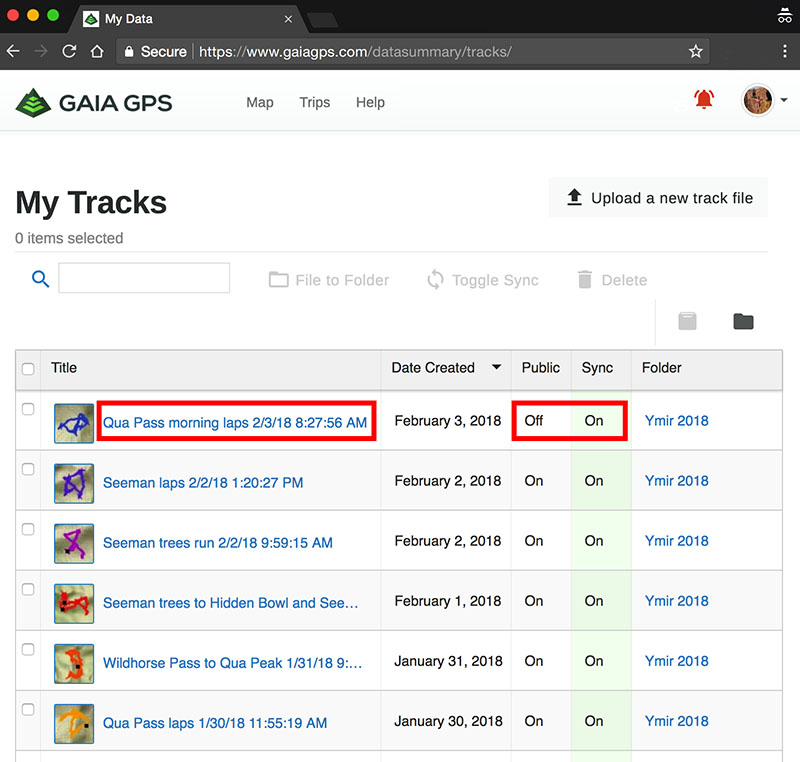 My Tracks page on Gaia GPS