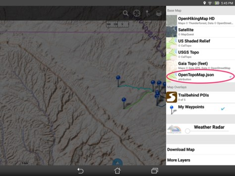 —find the custom map source in the Layers menu after import