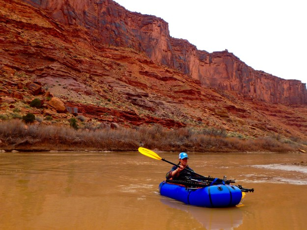 Walker pack pack rafting the Colorado River in Moab, Utah.