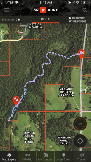 onX Hunt track recording with custom waypoints while viewing OK Private Lands layer and Satellite base map.