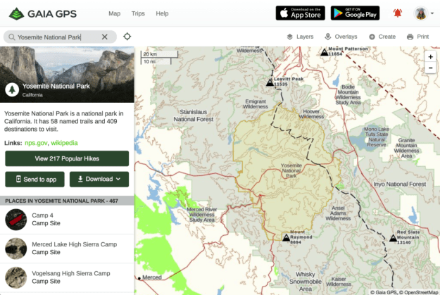 Gaia GPS Improves Search Functionality - example of Yosemite National Park result