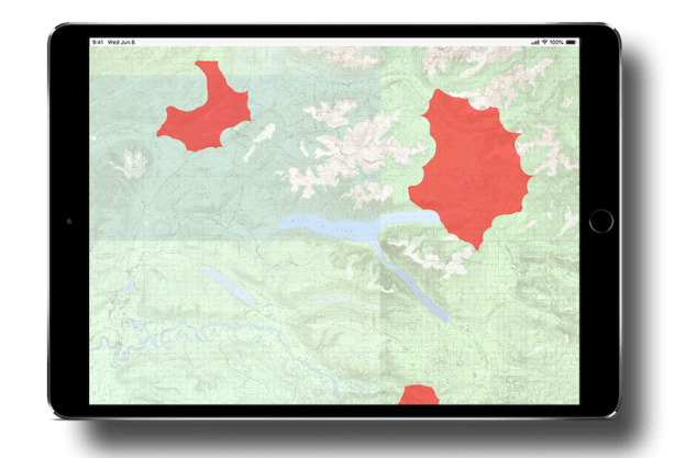 An ipad display, showing the Current Wildfires overlay in the Gaia GPS app