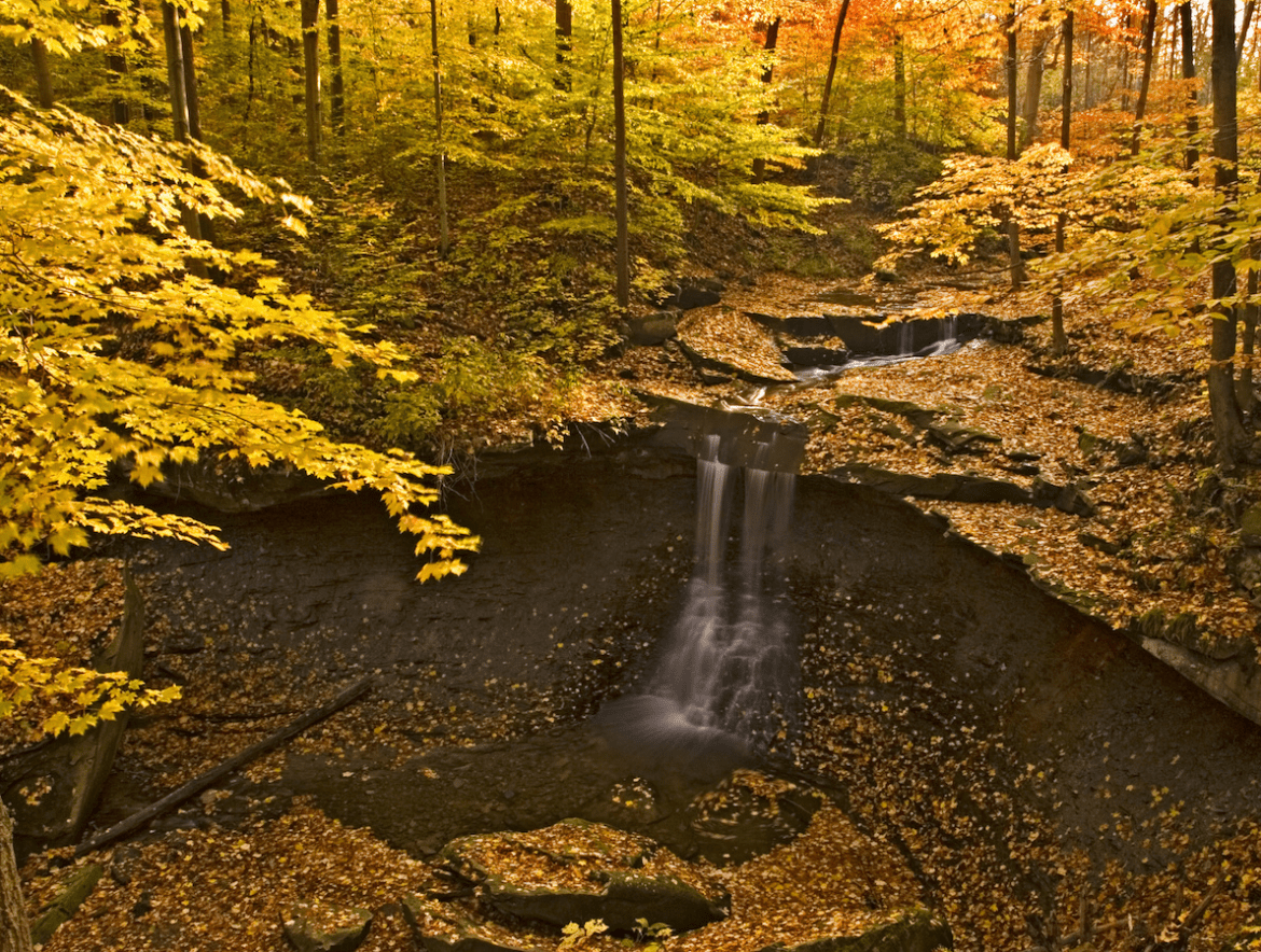 Waterfall in Cuyahoga National Park covered in fall leaves.
