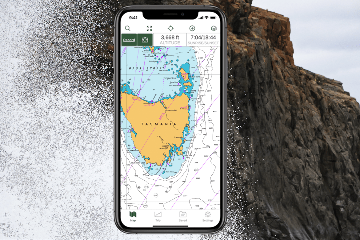 Tasmania nautical map displayed on iPhone interface with ocean background.