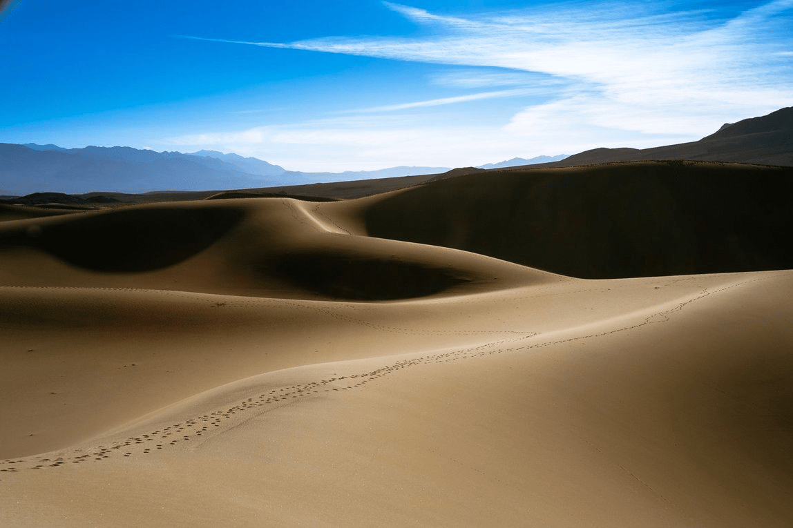 Two sets of footprints cross a sand dune in Death Valley with blue skies overhead.