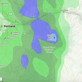 24-hour Precipitation Overlay over Mt Hood National Forest