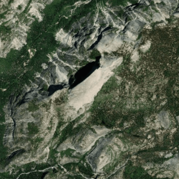 Satellite imagery over Half Dome in Yosemite National Park