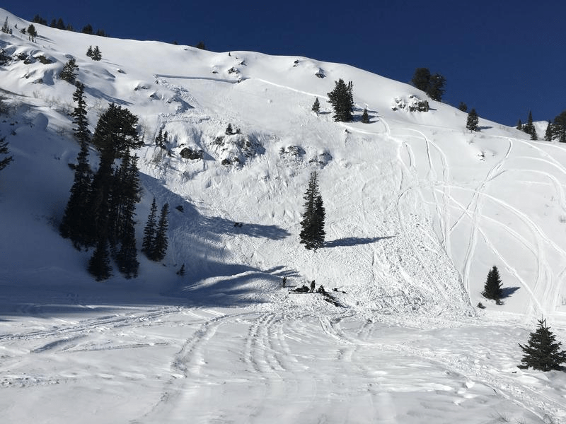 photo of avalanche with terrain trap beneath it.