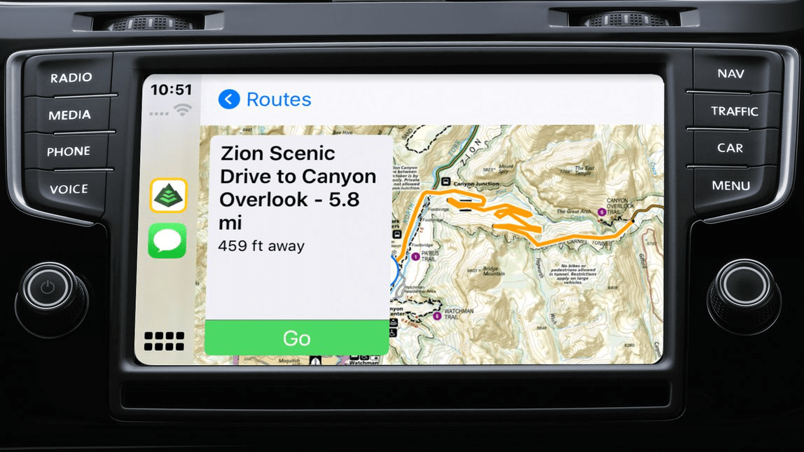 A National Geographic map displayed on a vehicle dashboard screen, showing directions to Zion Scenic Drive.