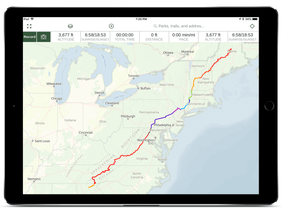 Appalachian Trail route pictured on Gaia GPS map