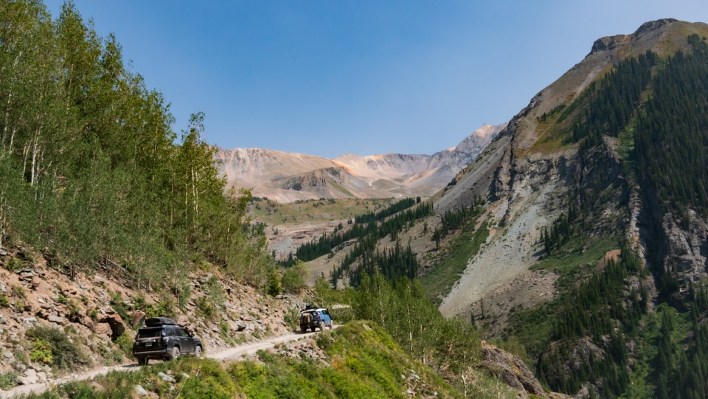 two vehicles offroading in the San Juans, Colorado