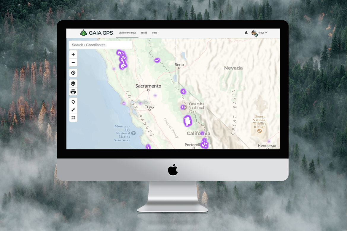 A screenshot of the Wildfires (Satellite Detections) map layer on the Gaia GPS website shows the locations of wildfires in purple shading throughout California.