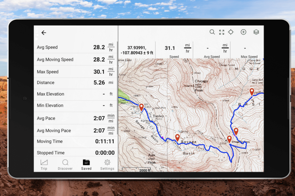 USGS map image on tablet with route and route stats showing