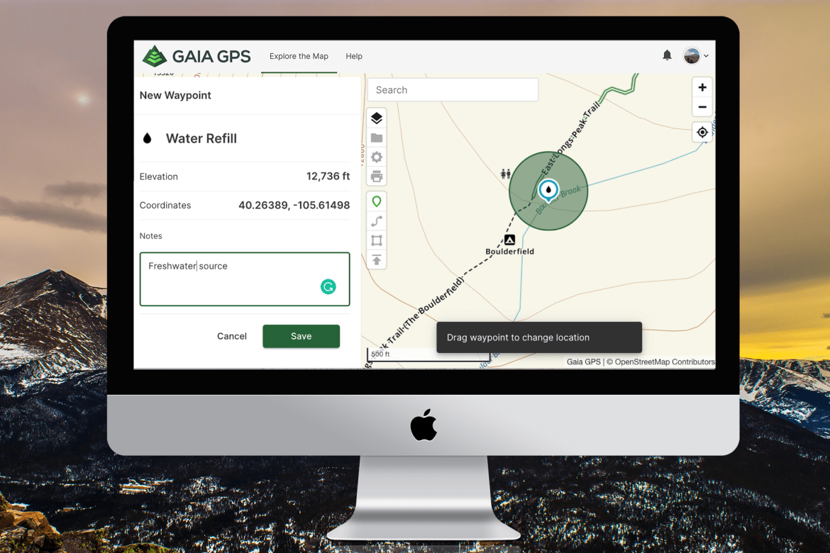 A screenshot of gaiagps.com shows a  water refill waypoint on the map and in the sidebar. You see the elevation of the waypoint, coordinates, and notes.