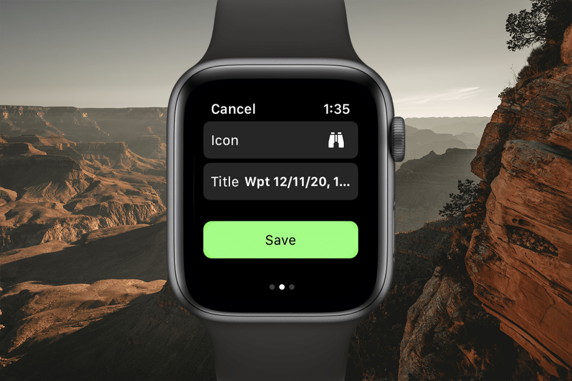 A Gaia GPS Apple Watch app screenshot shows how to drop a way point on the map: choose an icon, write a title, and press the save button.