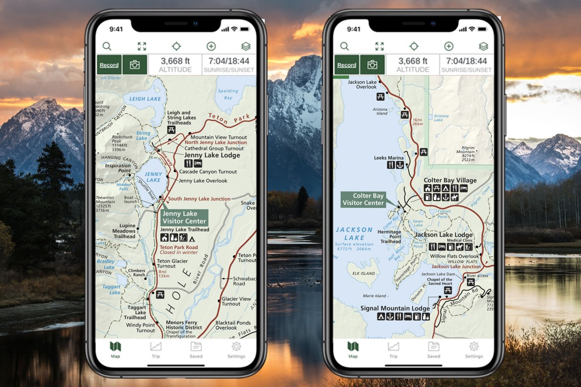 Two iPhone screenshots show NPS Visitor Maps layer in Gaia GPS.
