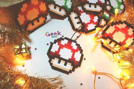 bead sprite Geek Crafts boule noël champignon Mario